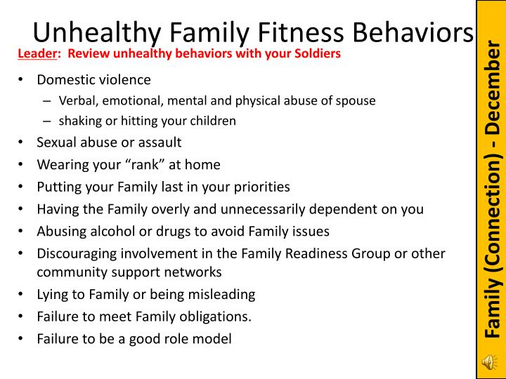 Unhealthy Family Fitness Behaviors