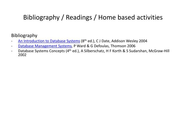 Bibliography / Readings / Home based activities