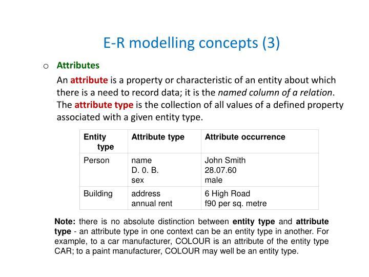 E-R modelling concepts (3)