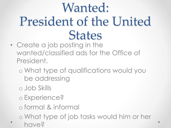 potus powerpoint The powers of the president of the united states include those powers explicitly granted by article ii of the united states constitution to the president of the united states, implied powers, powers granted by acts of congress, implied powers, and also a great deal of soft power that is attached to the presidency.