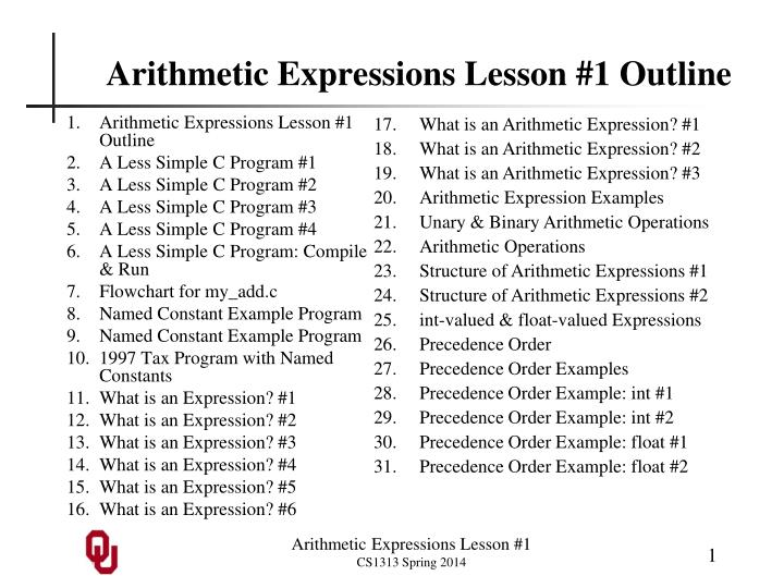 arithmetic expressions lesson 1 outline n.