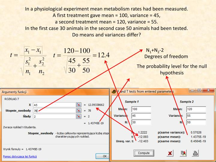 In a physiological experiment mean metabolism rates had been measured.
