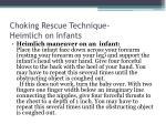 choking rescue technique heimlich on infants