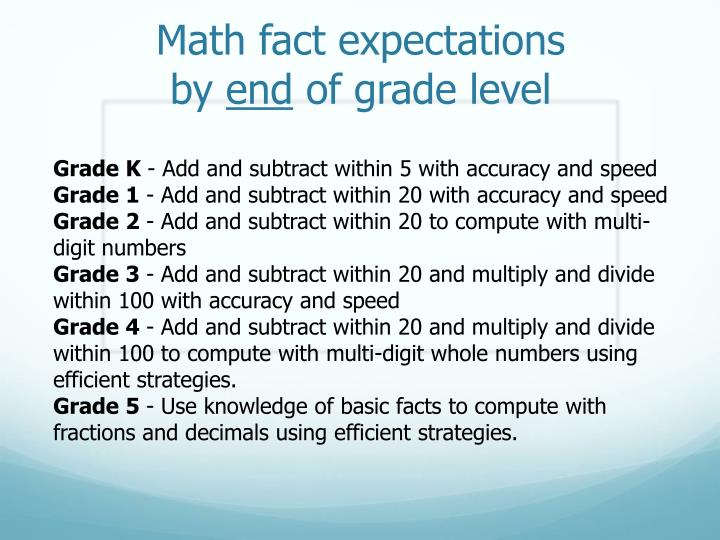 Math fact expectations