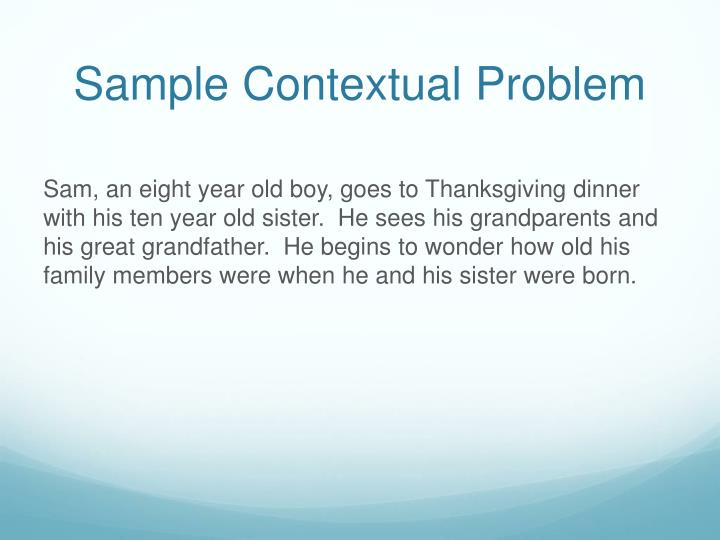Sample Contextual Problem