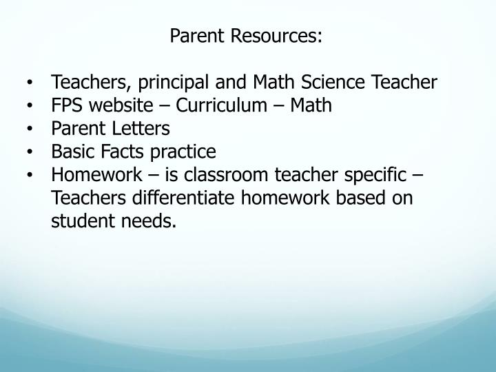 Parent Resources: