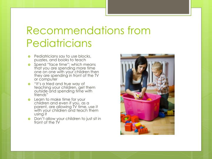 Recommendations from Pediatricians