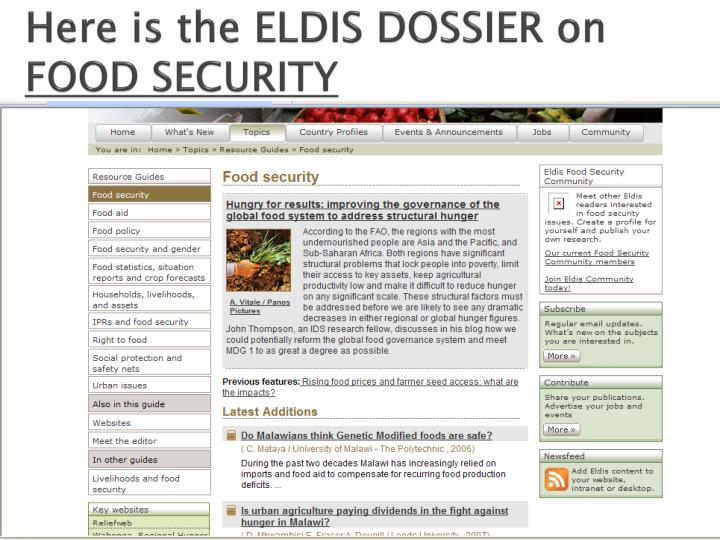 Here is the ELDIS DOSSIER on