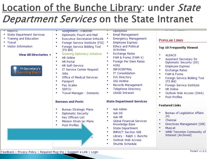 Location of the bunche library under state department services on the state intranet
