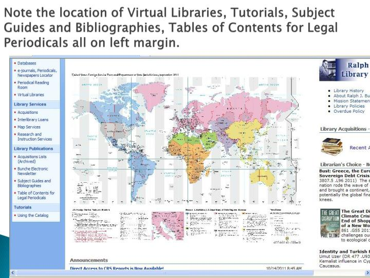 Note the location of Virtual Libraries, Tutorials, Subject Guides and Bibliographies, Tables of Contents for Legal Periodicals all on left margin.