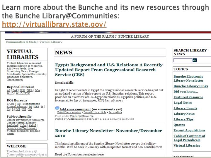 Learn more about the Bunche and its new resources through