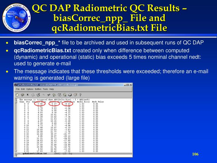 QC DAP Radiometric QC Results –