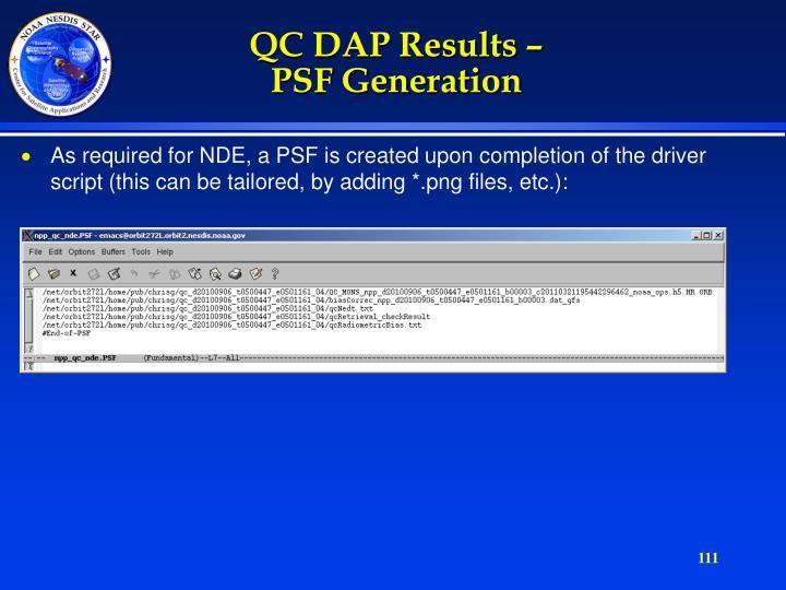 QC DAP Results –