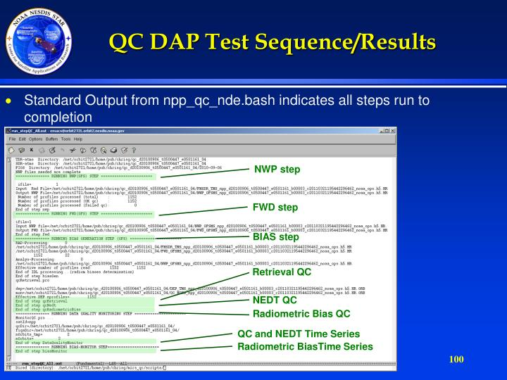 QC DAP Test Sequence/Results