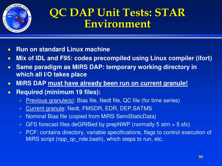 QC DAP Unit Tests: STAR Environment