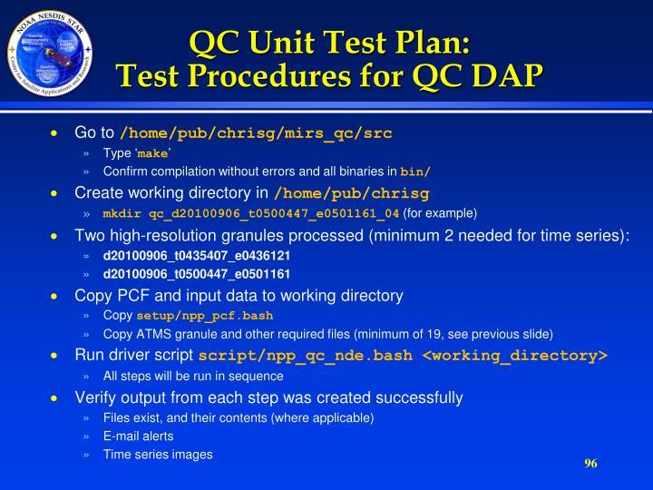 QC Unit Test Plan: