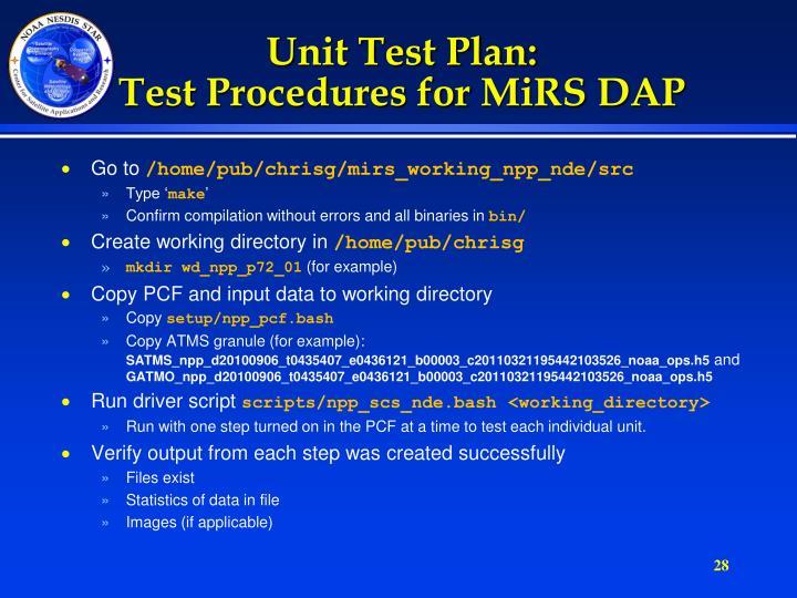 Unit Test Plan: