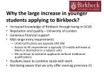 why the large increase in younger students applying to birkbeck