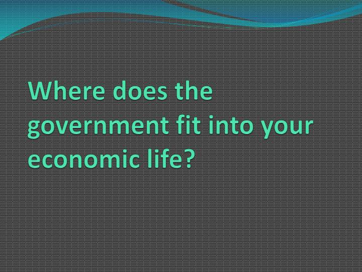 Where does the government fit into your economic life?