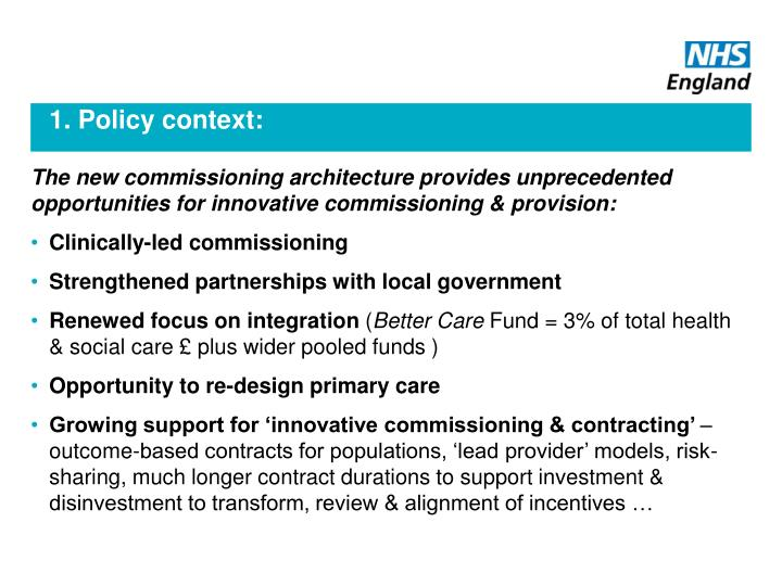 1. Policy context: