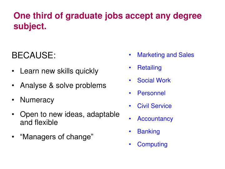 One third of graduate jobs accept any degree subject.