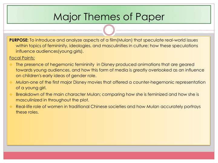 Major themes of paper