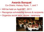 awards banquet co chairs kelsey ryan and