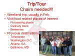 trip tour chairs needed