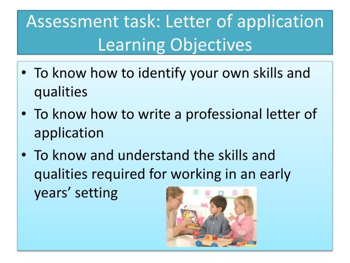 Assessment task: Letter of application