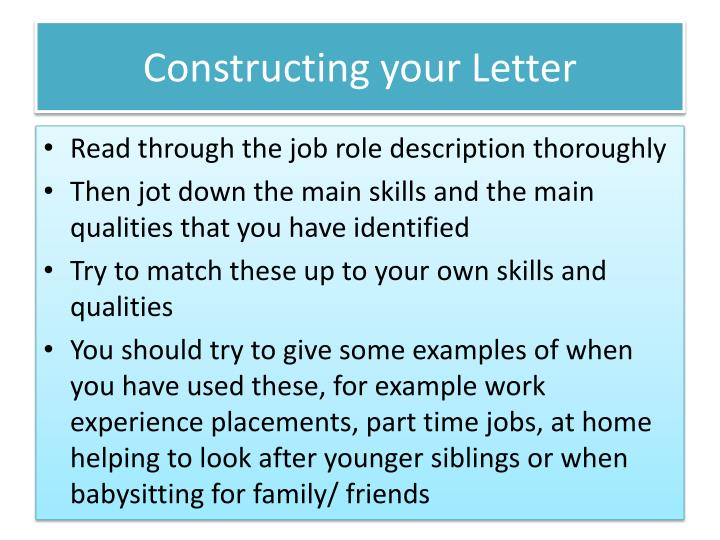 Constructing your Letter