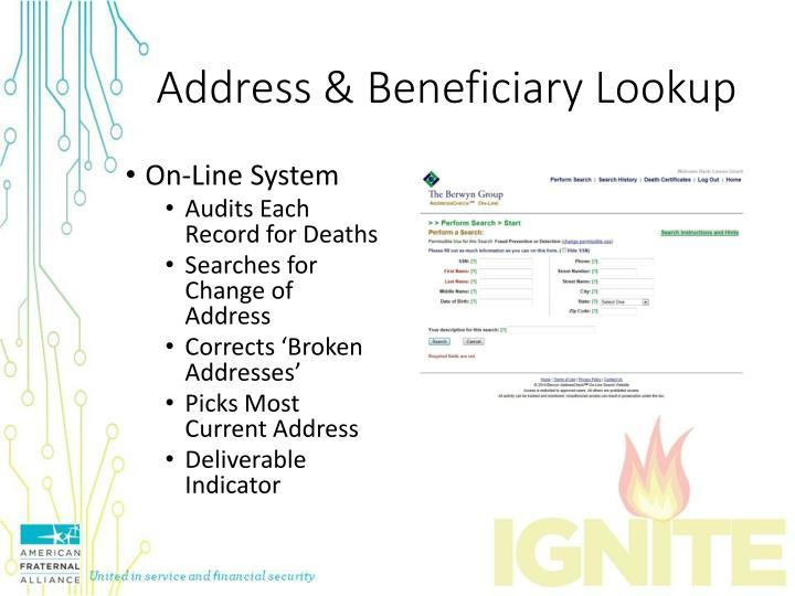 Address & Beneficiary Lookup
