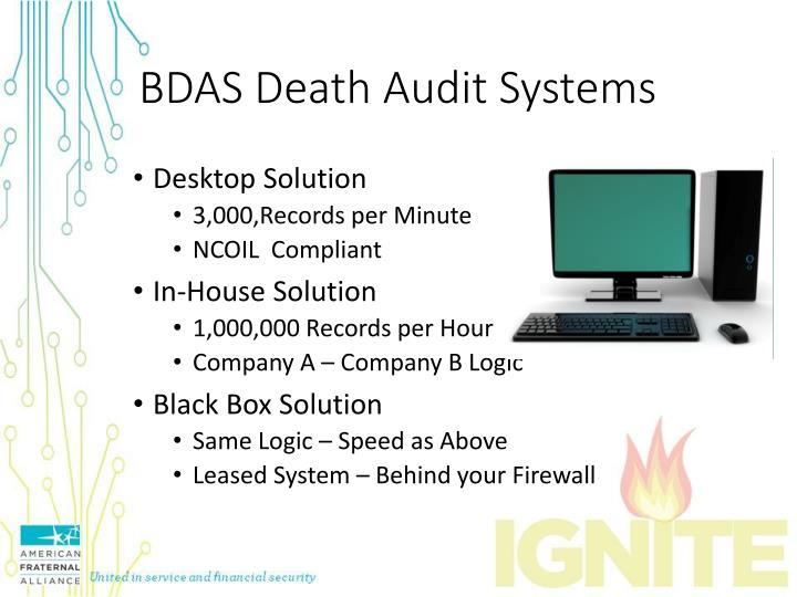 BDAS Death Audit Systems