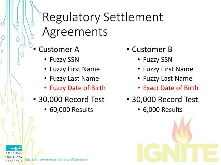Regulatory Settlement Agreements