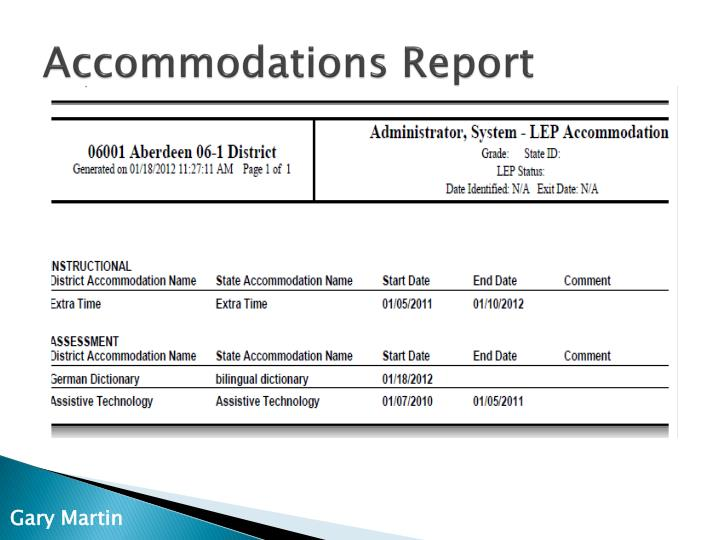 Accommodations Report