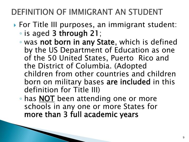 Definition OF IMMIGRANT an student