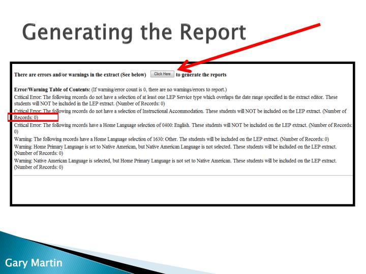 Generating the Report