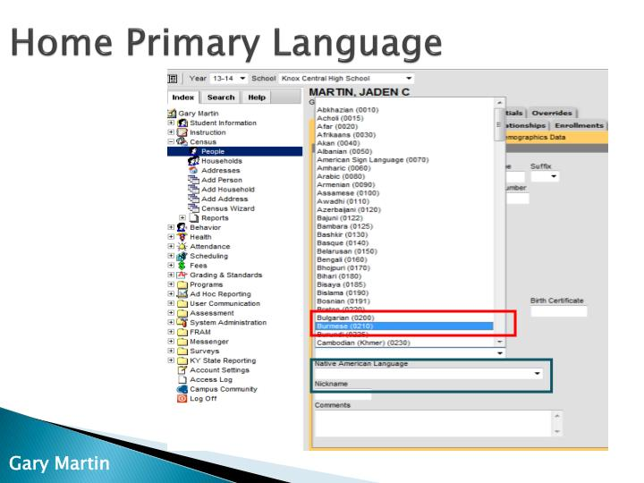 Home Primary Language