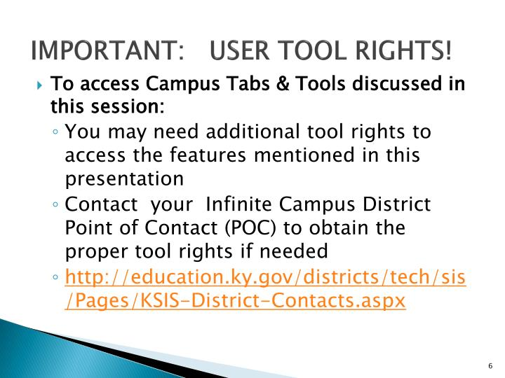Important:   User Tool Rights!