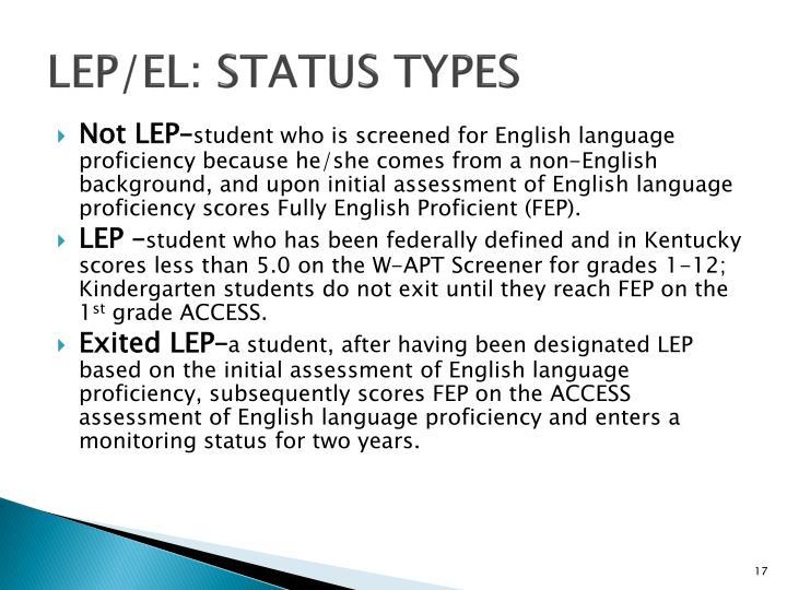 LEP/EL: Status Types