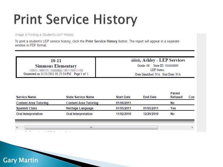 Print Service History