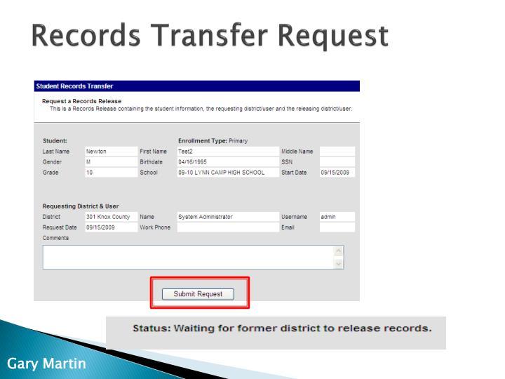 Records Transfer Request