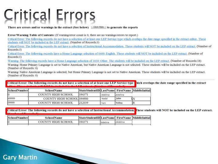 Critical Errors