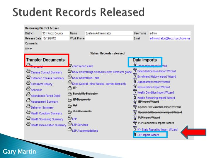 Student Records Released
