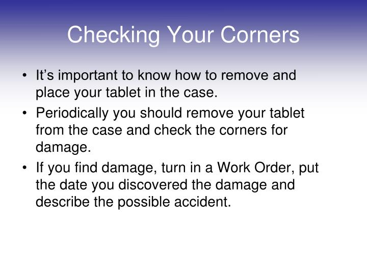 Checking Your Corners