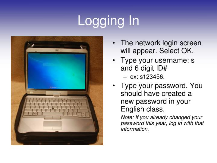 The network login screen will appear. Select OK.