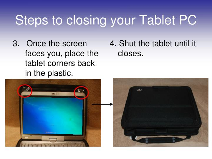 3.   Once the screen faces you, place the tablet corners back in the plastic.