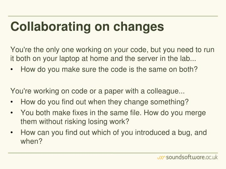 Collaborating on changes