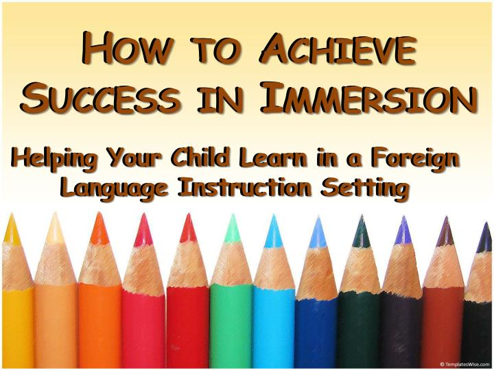 how to achieve success in immersion n.