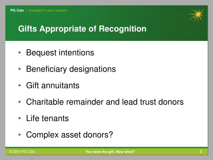 Gifts appropriate of recognition