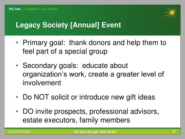 Legacy Society [Annual] Event